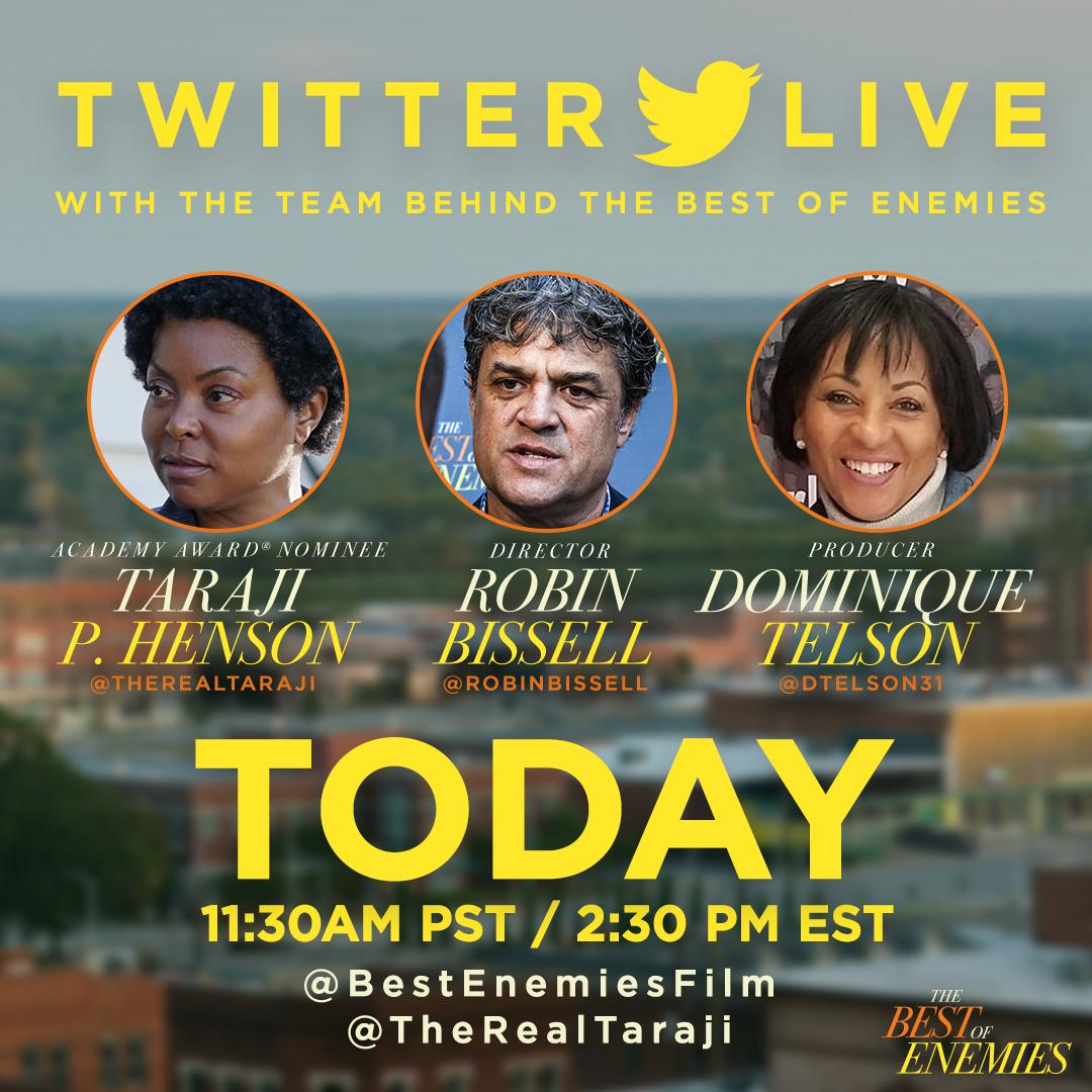Tune in to Twitter at 11:30 AM PST/2:30 PM EST for a live chat with @TherealTaraji, producer Dominique Telson and writer/director Robin Bissell as they discuss all things #TheBestOfEnemies.