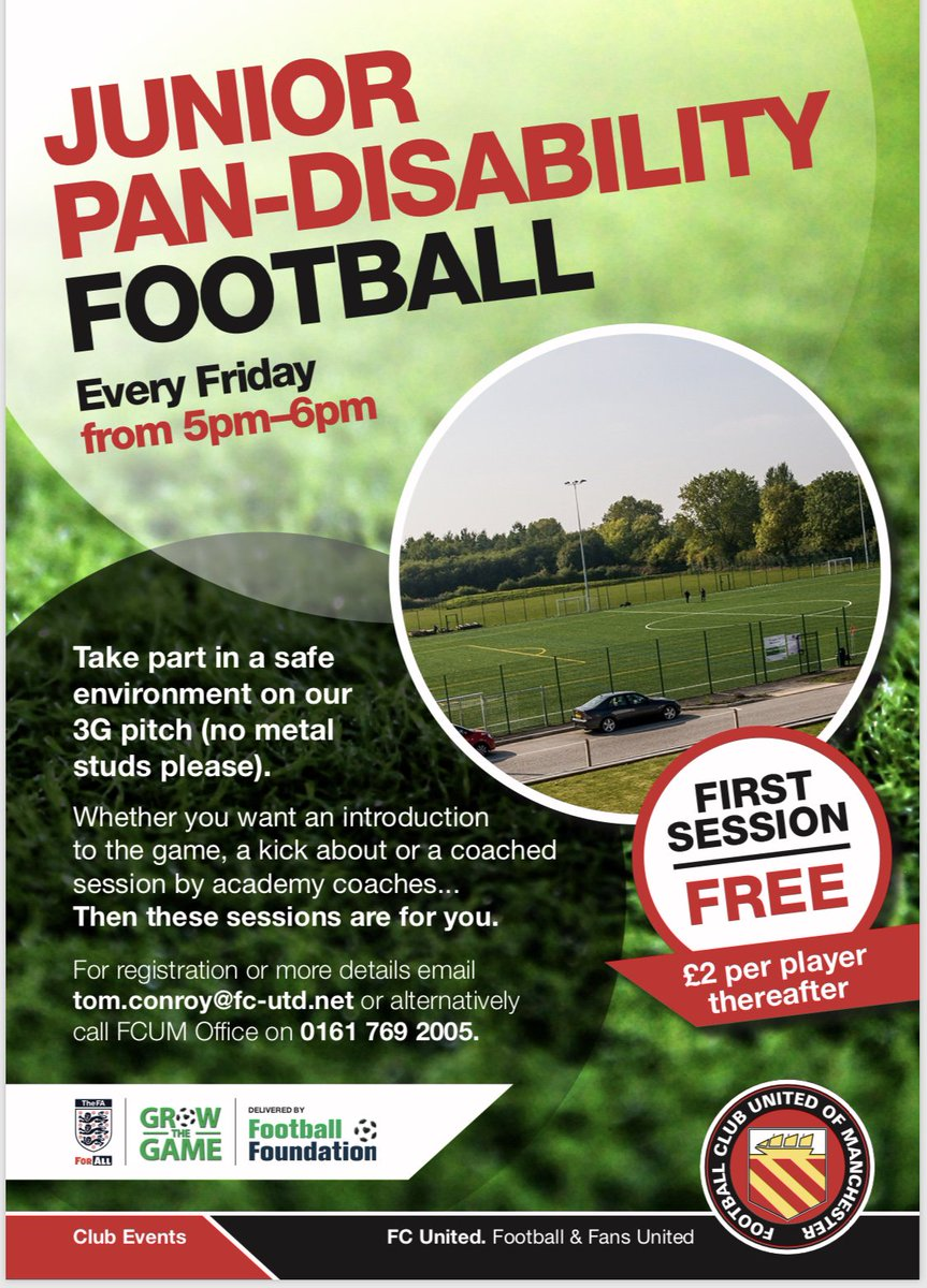 @FCUnitedMcr New Pan-Disability Football Sessions run every Friday 5-6pm ⚽️  Interested? Contact tom.conroy@fc-utd.net or call FCUM office on 0161 769 2005