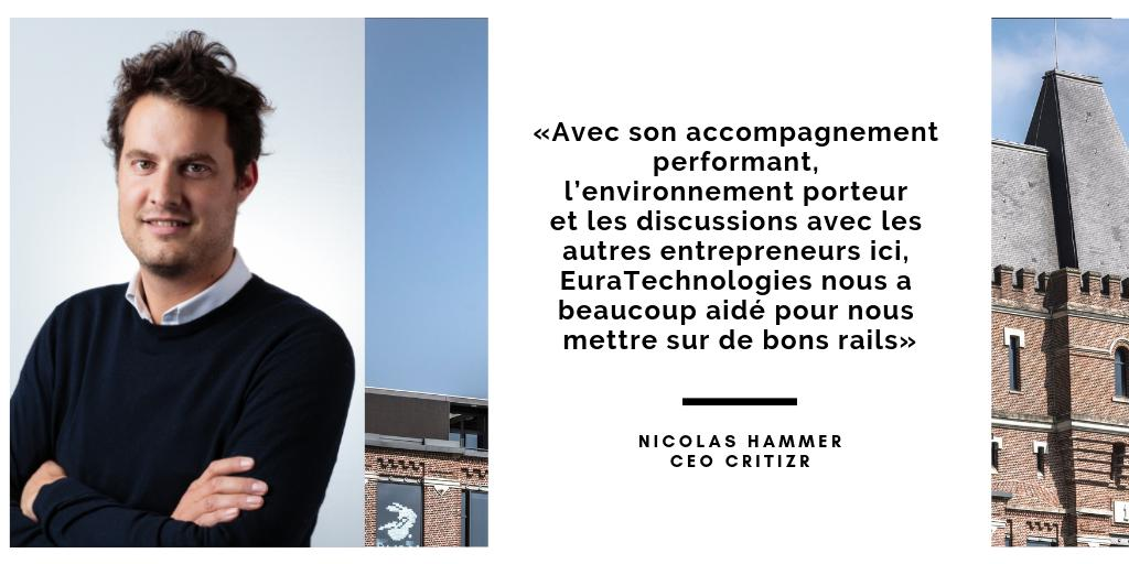 Témoignage d'entrepreneur : Nicolas Hammer CEO @critizr ➡https://www.euratechnologies.com/euratechnologies-fete-ses-10-ans-temoignages-des-presents-au-commencement-de-cette-revolution-numerique/…  #incubateur #accelerateur #startup #Lille #Roubaix #Willems #SaintQuentin