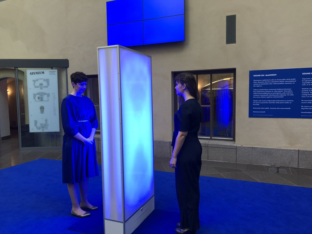 Attended the opening of the #soundOn campaign @AteneumMuseum to give voice to those suffering from #depression! This beautiful musical installation turns blue when 2 people approach it from different sides! An invitation to listen and talk. Artists are in the picture.