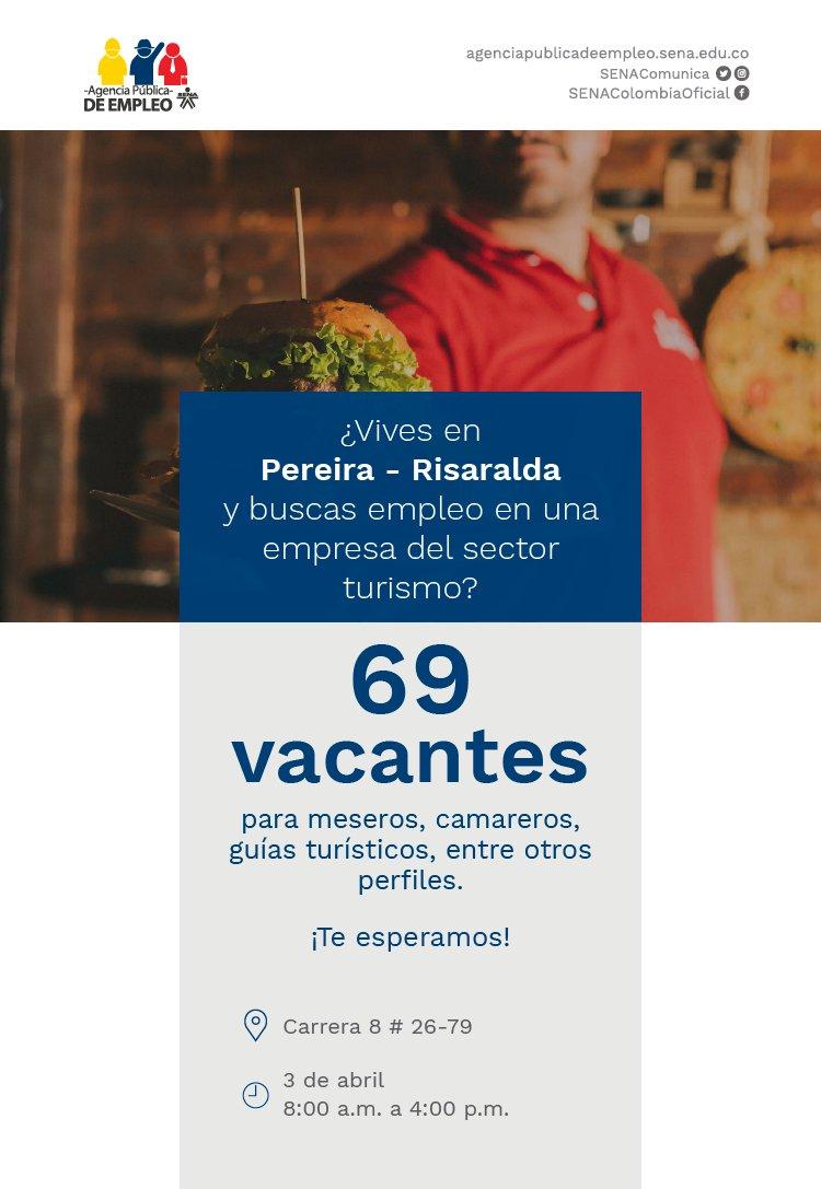 En Girardot, Meta y en Pereira, la #AgenciaPúblicaDeEmpleo del @SENAComunica también realiza jornada de empleo enfocada en el sector turismo ¡Asiste con tu hoja de vida actualizada! #TrabajoSíHay #SomosSENA