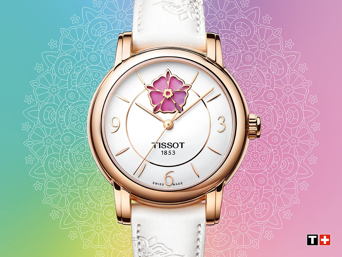Flowers make people happy – such as our #Tissot Lady Heart Flower!  More information:  https://bit.ly/2Ugh8qn