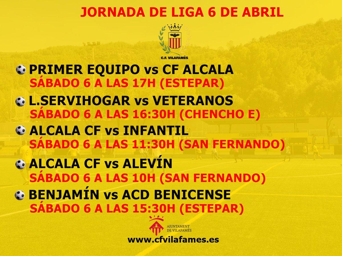 Agenda del CF Vilafamés correspondiente a la jornada del 6 de abril.  Nueva semana de competición para seguir disfrutando del fútbol.  #amuntvilafamés #cfvilafamés #ligacfv #horariocfv