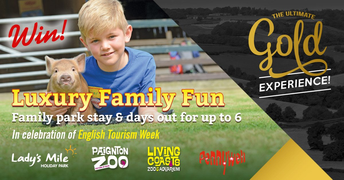 #WinItWednesday Win a short break in Devon for up to 6 people! Luxury Family Fun is just one of the prizes on offer in our fantastic competition to celebrate #EnglishTourismWeek19 Enter here: bit.ly/2OJTJY6 @Ladys_Mile @PaigntonZoo @LivingCoasts @VisitEngland