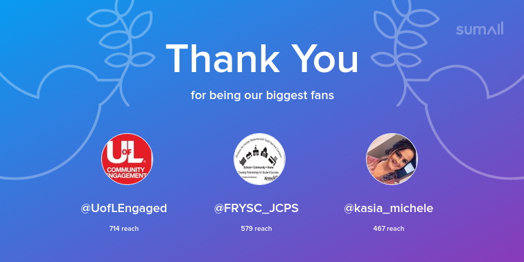 Our biggest fans this week: @UofLEngaged, @FRYSC_JCPS, @kasia_michele. Thank you! via sumall.com/thankyou?utm_s…