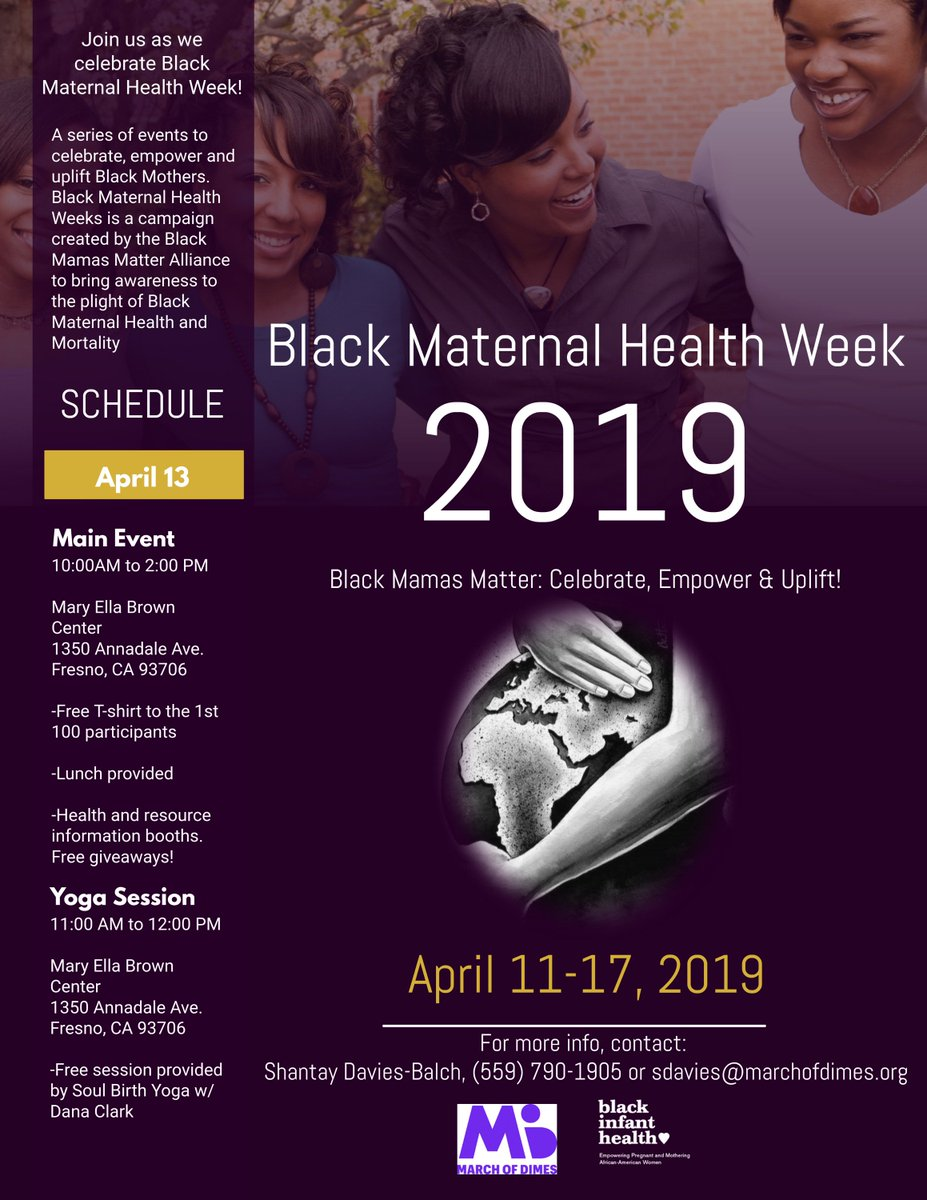 Black Maternal Health Week April 11-17, 2019  For more information contact: Shantay Davies-Balch sdavies@marchofdimes.org  #black #april #maternalhealth #marchofdimes https://t.co/QEWQ55HiWK