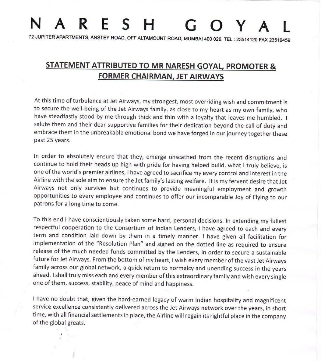 Statement by Mr. Naresh Goyal. https://t.co/v61nqg8qlZ