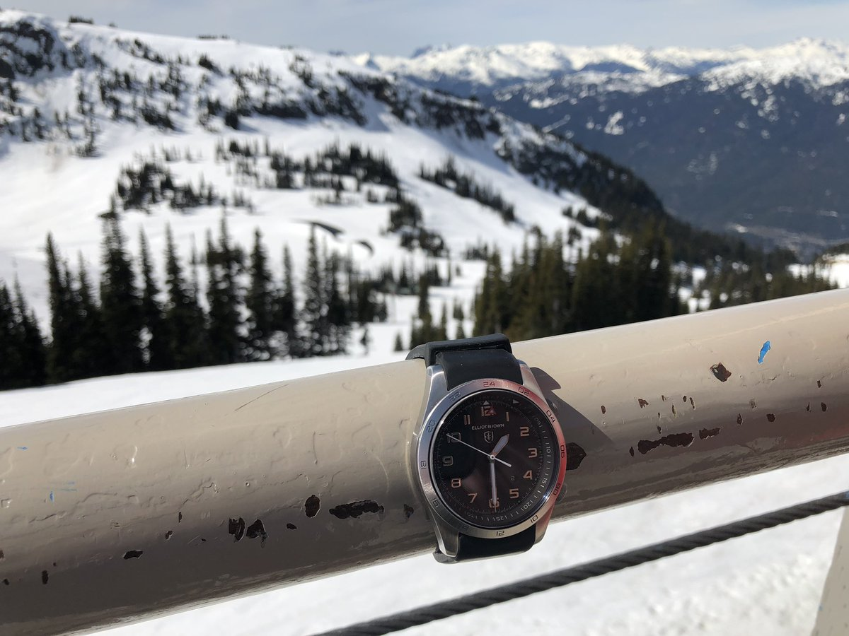 @EBwatches my Broadstone Clipper Watch enjoying the view and a few tumbles in Whistler – at Roundhouse Lodge Restaurant