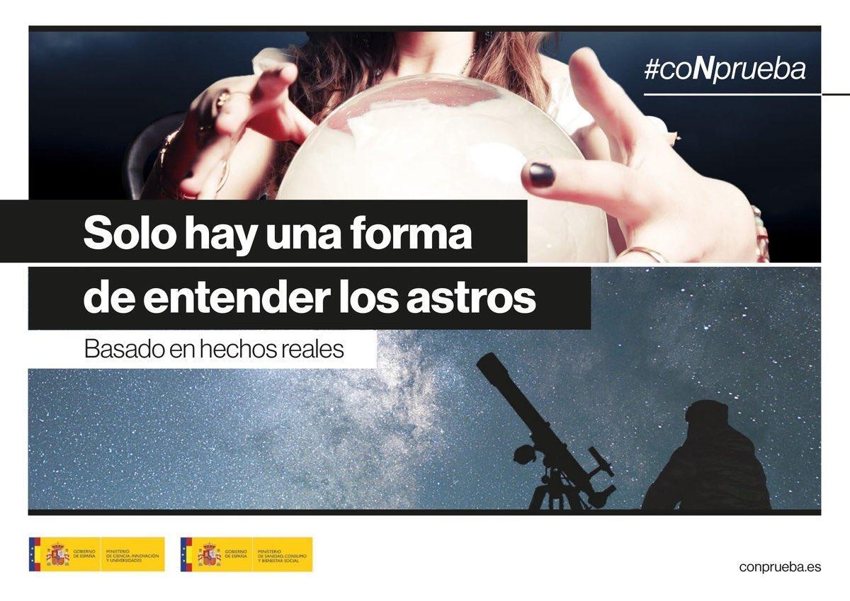 Campaña del Ministerio de Ciencia @CienciaGob contra las pseudociencias #coNprueba  ➡️ http://conprueba.es