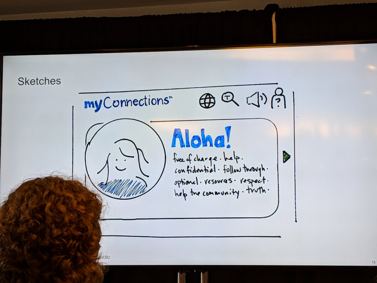 Very cool to see the design iterations for the MyConnections app and to understand how they used the research in the design #hxd2019