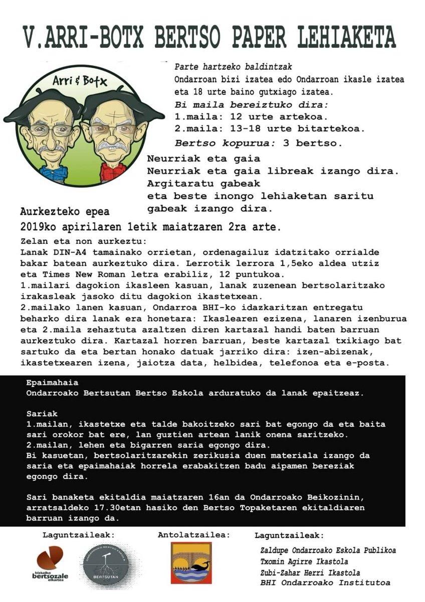 V. ARRI-BOTX Bertso paperlehiaketi http://turrune.com/2019/04/03/v-arri-botx-bertso-paper-lehiaketi/…