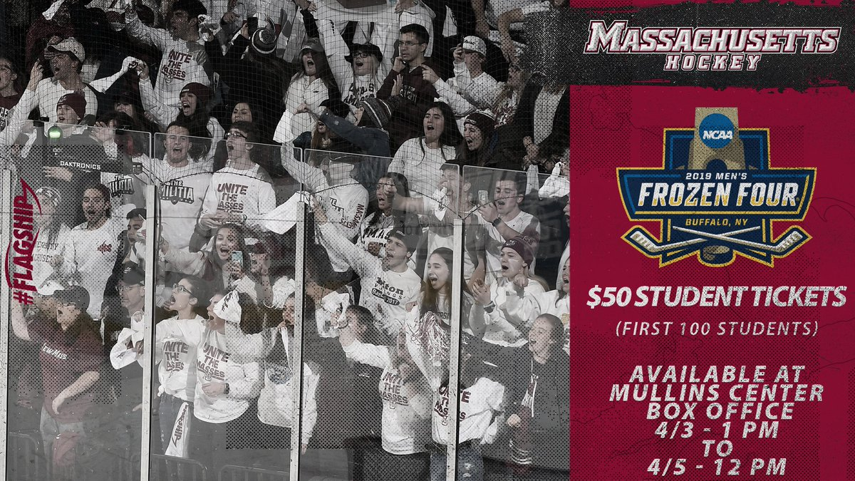 🚨🚨 LIMITED NUMBER OF UNDERGRADUATE STUDENT TICKETS AVAILABLE STARTING AT 1 PM TODAY!!!! 🚨🚨  🔸 Undergrads only, purchase in person @MullinsCenter box office  🔸 Additional details on #FrozenFour watch parties coming soon  📰: http://bit.ly/2FM85TX  #Flagship 🚩