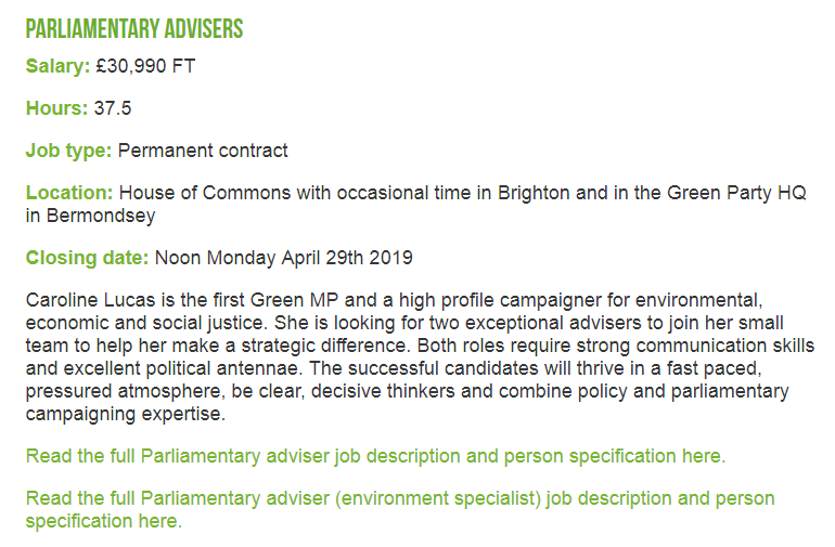 It's been a real privilege to work for Caroline over the last 3 years.   Now the team needs a new campaigner/adviser to lead on climate/enviro work.   It's a real challenge but you'll learn so much about politics, policy, and yourself.  Have a look! 👇  https://www.greenparty.org.uk/jobs/