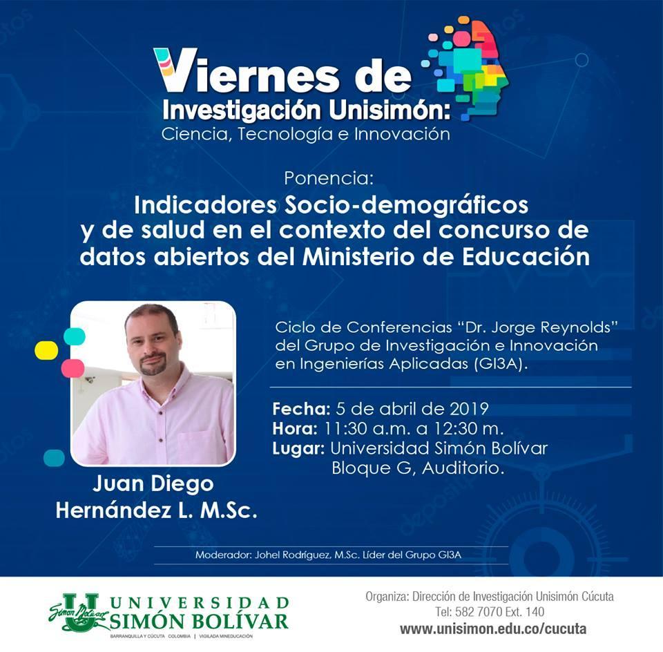 #AgéndateConLaU | Participa y conoce sobre los indicadores sociodemográficos y de salud en el contexto del concurso de datos abiertos del Ministerio de Educación Nacional de Colombia en esta nueva versión de los #ViernesDeInvestigación Unisimón. ¡Los esperamos! #SomosUnisimón https://t.co/2WQ2ZH1I87