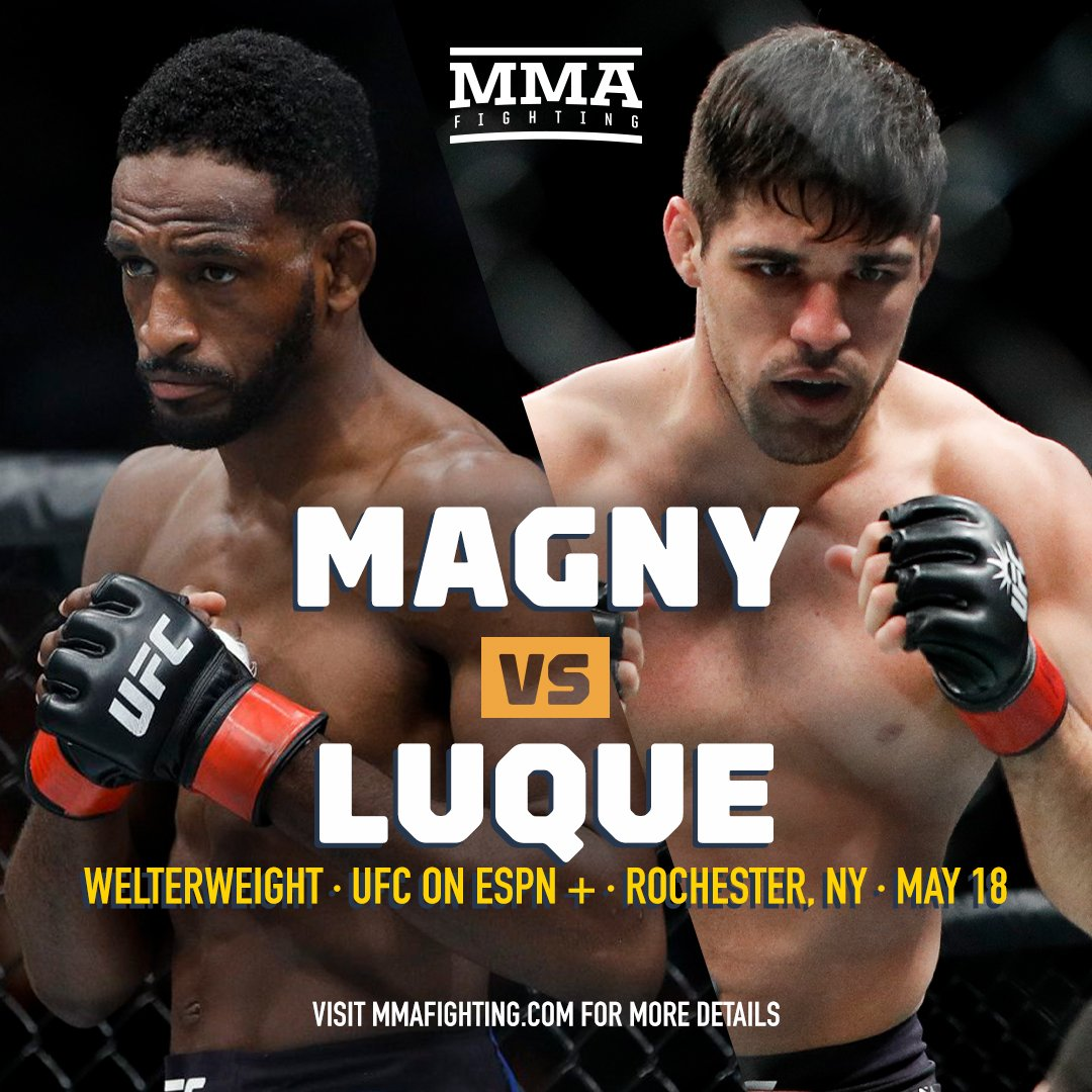 ICYMI: Neil Magny vs. Vicente Luque set for co-main event of UFC Rochester (@JoseYoungs) https://www.mmafighting.com/2019/4/3/18294467/neil-magny-vs-vicente-luque-set-for-co-main-event-of-ufc-rochester?utm_campaign=mmafighting&utm_content=chorus&utm_medium=social&utm_source=twitter …