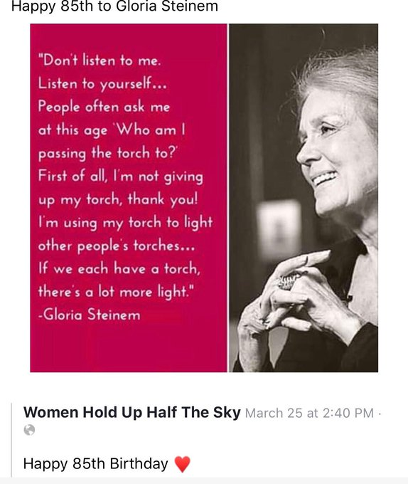 Happy 85th Birthday to Gloria Steinem!  via