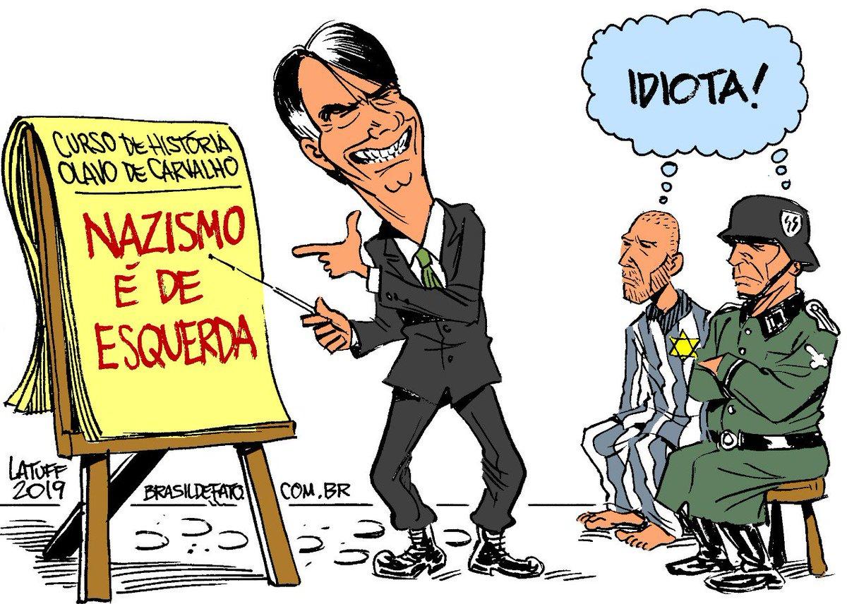 """Brasil de Fato (em 🏠) Twitterissä: """"Bolsonaro: revisionista do Holocausto Em viagem a Israel o presidente Jair Bolsonaro (PSL) visitou o Memorial do Holocausto e disse que nazismo era de esquerda. #Bolsonaro #"""