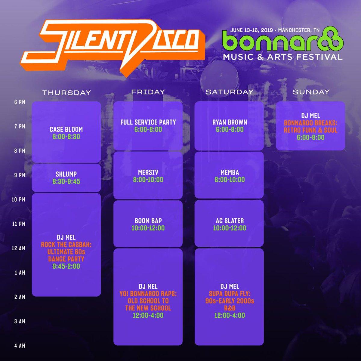 Bonnaroo Silent Disco lineup 2019