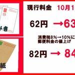 10月1日から切手・はがき値上げ‼郵便料金を消費税値上げに伴って‼