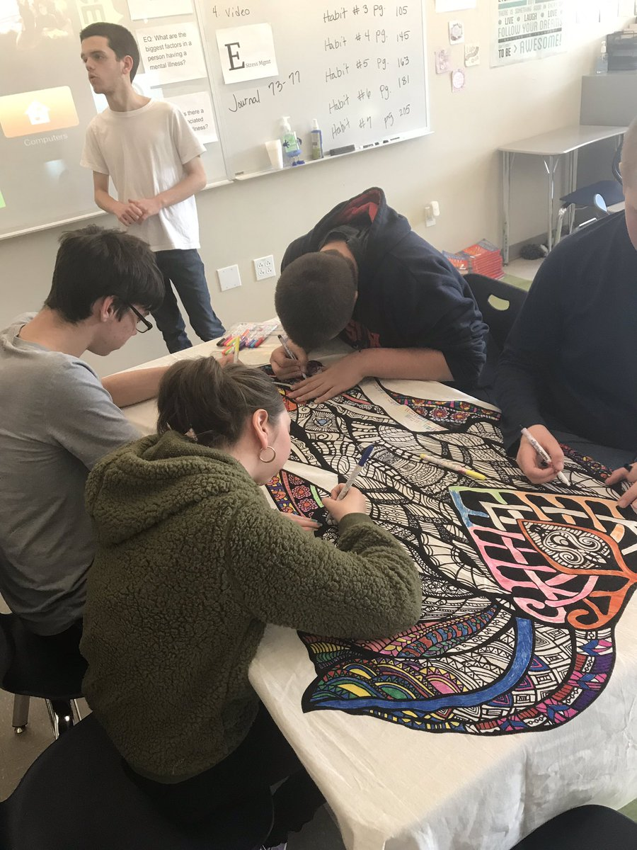 After learning about accident prevention #DLS students got their turn to contribute to the giant elephant #mandala. #SpartanPride #EveryoneHasARole