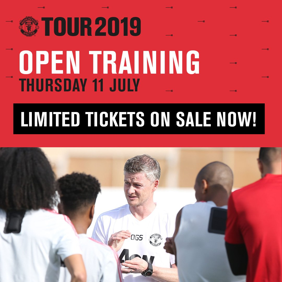 Tickets are now on sale to the Manchester United open training session #UnitedinPerth ⚽ Limited tickets available at $5 each  ⚽ Thur 11 July at the WACA Ground ⚽ See United Live For The First Time  🎟️ Buy tickets now: http://bit.ly/2FZyYow