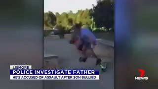 Lismore: A father could be in trouble with police for losing his temper at a group of 12-year-old boys who had bullied his son at a Lismore skate park last Sunday. Video shows the man appearing to grab one boy by the neck and shoving another down a ramp. #Lismore #7NEWS