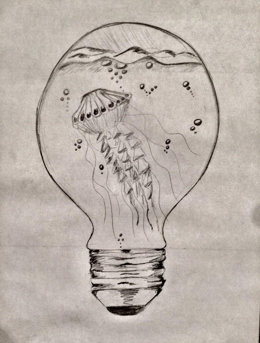 Thea On Twitter Dessin Crayon De Papier Le 21 03 2019 Ampoule Meduse Crayon