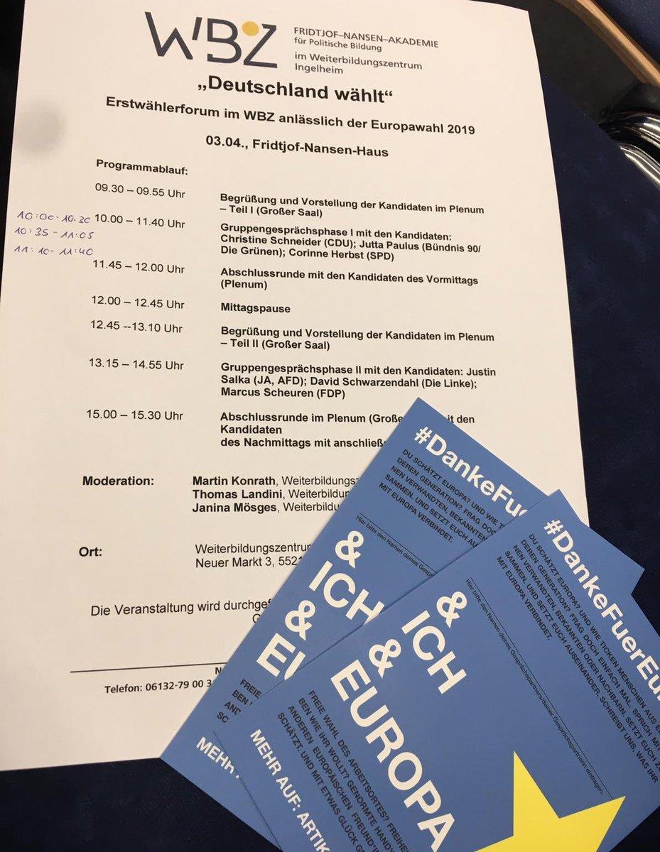 Gestern war großes Erstwählerforum der Fridtjof-Nansen-Akademie im Weiterbildungszentrum @Ingelheim.   Mitten drin statt nur dabei: Unsere Postkarten.   #DankeFuerEuropa  #Europa #Europawahl