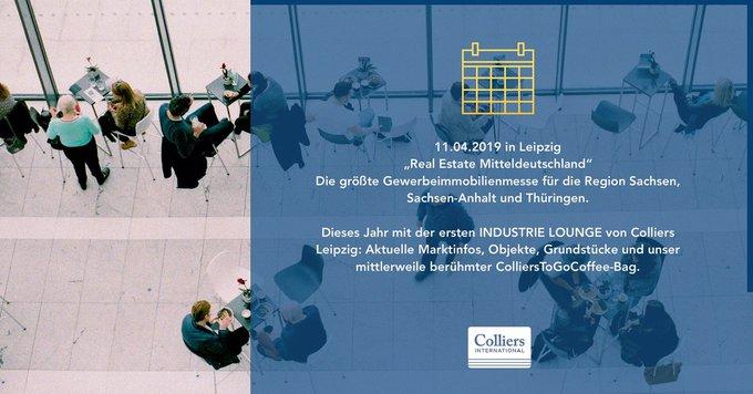"""Colliers sponsert die Industrie-Lounge auf der Real Estate Mitteldeutschland am 11. April in #Leipzig.<br><br>Steffen Sauer gibt das Update: &quot;Markt für Logistik- und Industrieflächen Mitteldeutschland"""". <br><br>Wir freuen uns auf Ihren Besuch:  t.co/4lkdfpIckQ"""