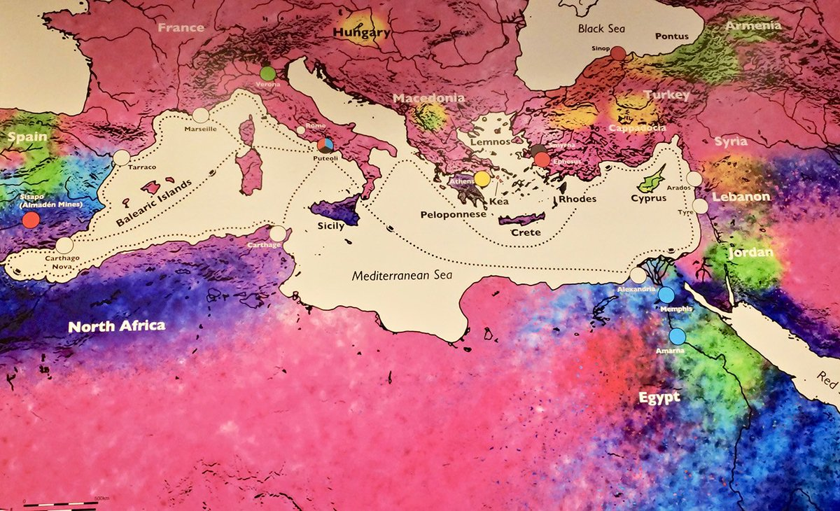 A map that shows the source and distribution of pigment materials around the ancient #Mediterranean world #polychromy