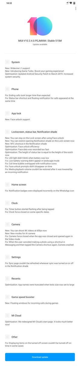 Download Xiaomi Poco F1 MIUI 10 3 4 OTA update with Widevine