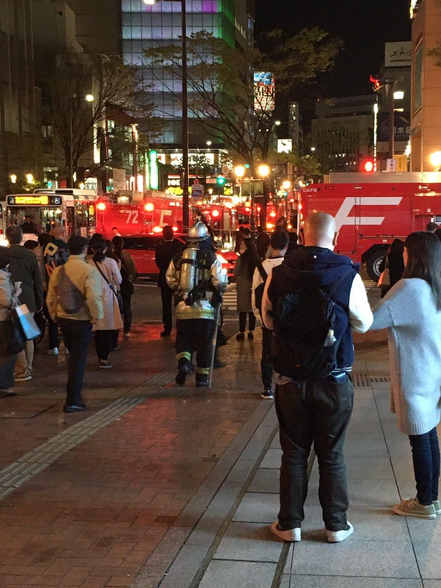 中洲川端駅で車両故障の火災が起きている現場画像
