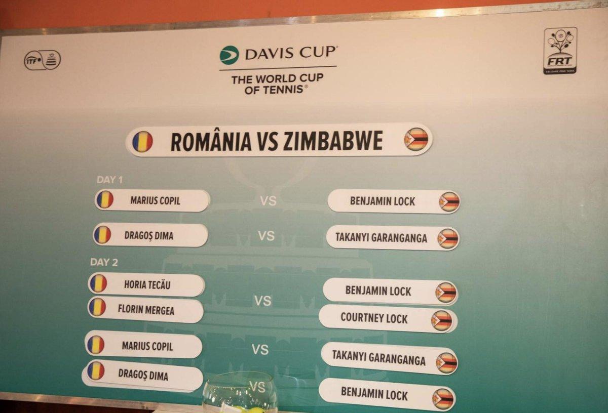 🇷🇴Romania v Zimbabwe🇿🇼will start with @MariusCopil v @Benjamm1ng #DavisCup #ROUZWE 📸@adriano_qld