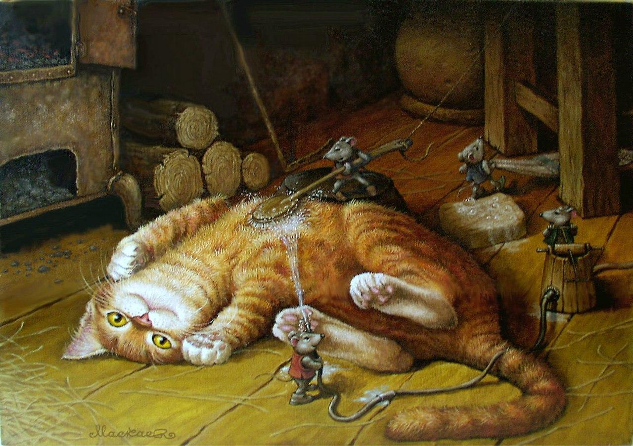 Картинку получить, открытка кошка с мышкой