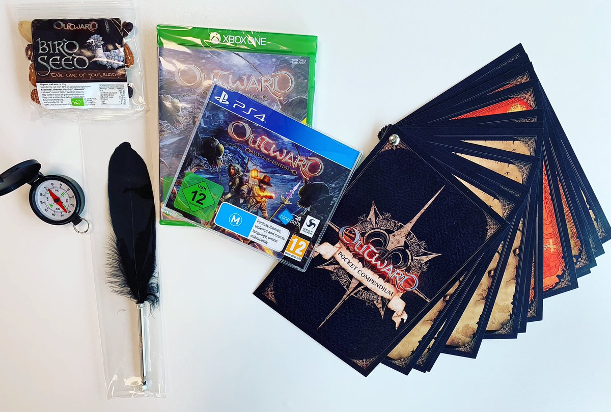Fancy some #Outward goodies? We're giving you a chance to #Win this cool swag and a copy of the game on #PS4 or #XboxOne.  Simply #Follow & #Retweet for a chance of winning. T's & C's apply. We'll announce the lucky individual at 16:00 GMT Tuesday 09 April [UK Only].