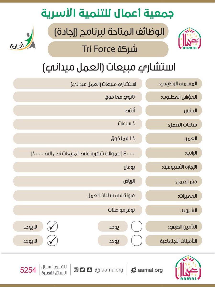 تعلن جمعية اعمال بالشراكة مع شركة   tri force عن وظائف شاغرة للنساء فقط  * يلزم تعبئة البيانات في الرابط التالي  https://t.co/FlfNYSV3lY في قطاع التجزئة.    #وظائف_نسائيه #وظائف_شاغرة #وظائف_الرياض