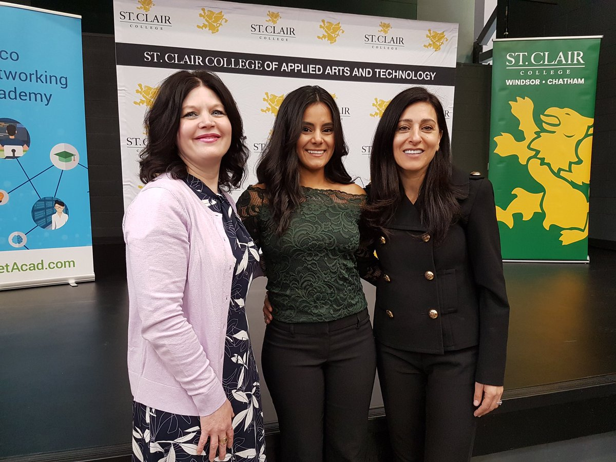 St Clair College Sur Twitter St Clair College President Patti France Zaenab Allawi Computer Networking Graduate And Cisco Canada President Rola Dagher At Press Conference Today Announcing St Clair Is 1