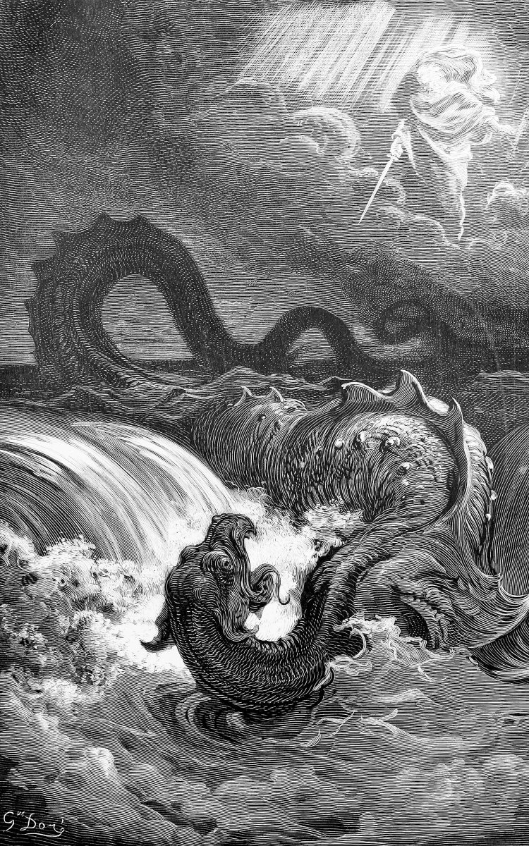 """Satanic Bay Area on Twitter: """"""""The Destruction of Leviathan,"""" Gustave Doré,  1865. god is a dick to endangered species. #satanism… """""""