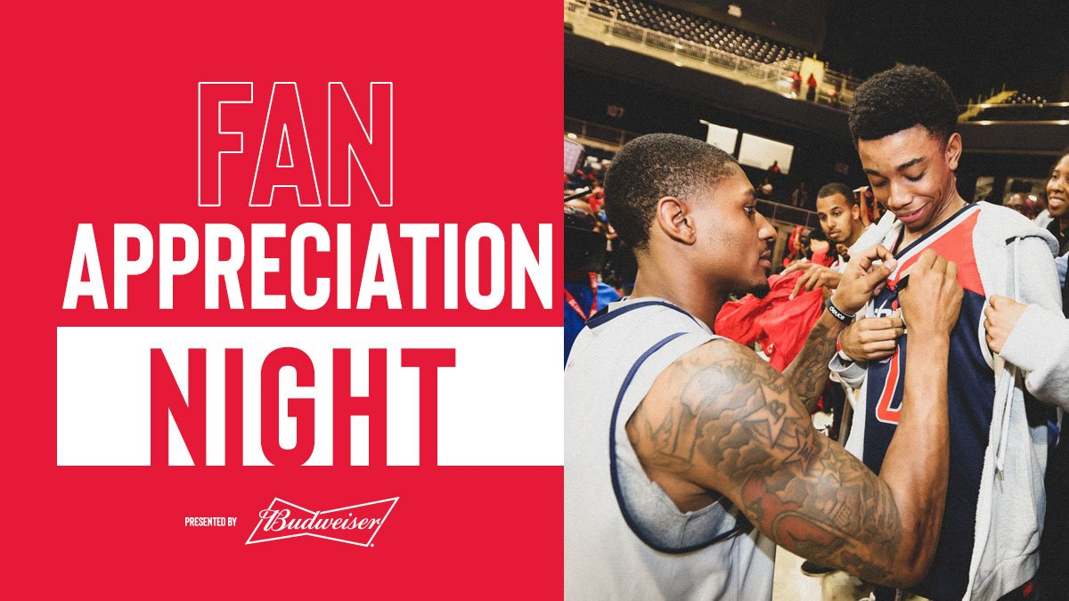 Tomorrow night's #WizSpurs is Fan Appreciation Night, featuring giveaways throughout the day!  🎟 » http://bit.ly/2_5f | Pres. by @Budweiser