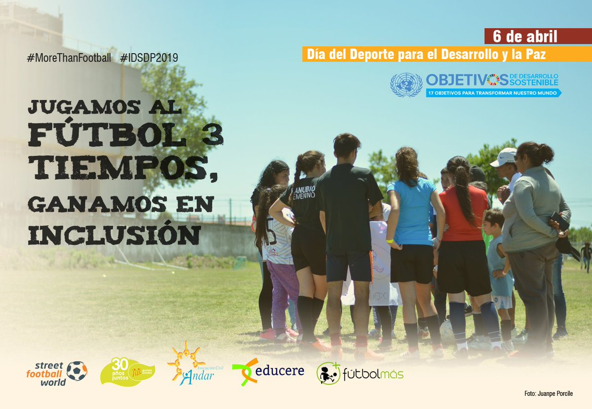 El sábado celebramos el Día Internacional del Deporte para el Desarrollo y la Paz.  El #Futbol3Tiempos es una herramienta para la inclusión social 💪⚽️ @sfw_tweets @granjaandar @futbolmasorg @Educere2018  #IDSDP2019 #MoreThanFootball #JovenesLatamXDeporteYPaz #EduGolFutbol3