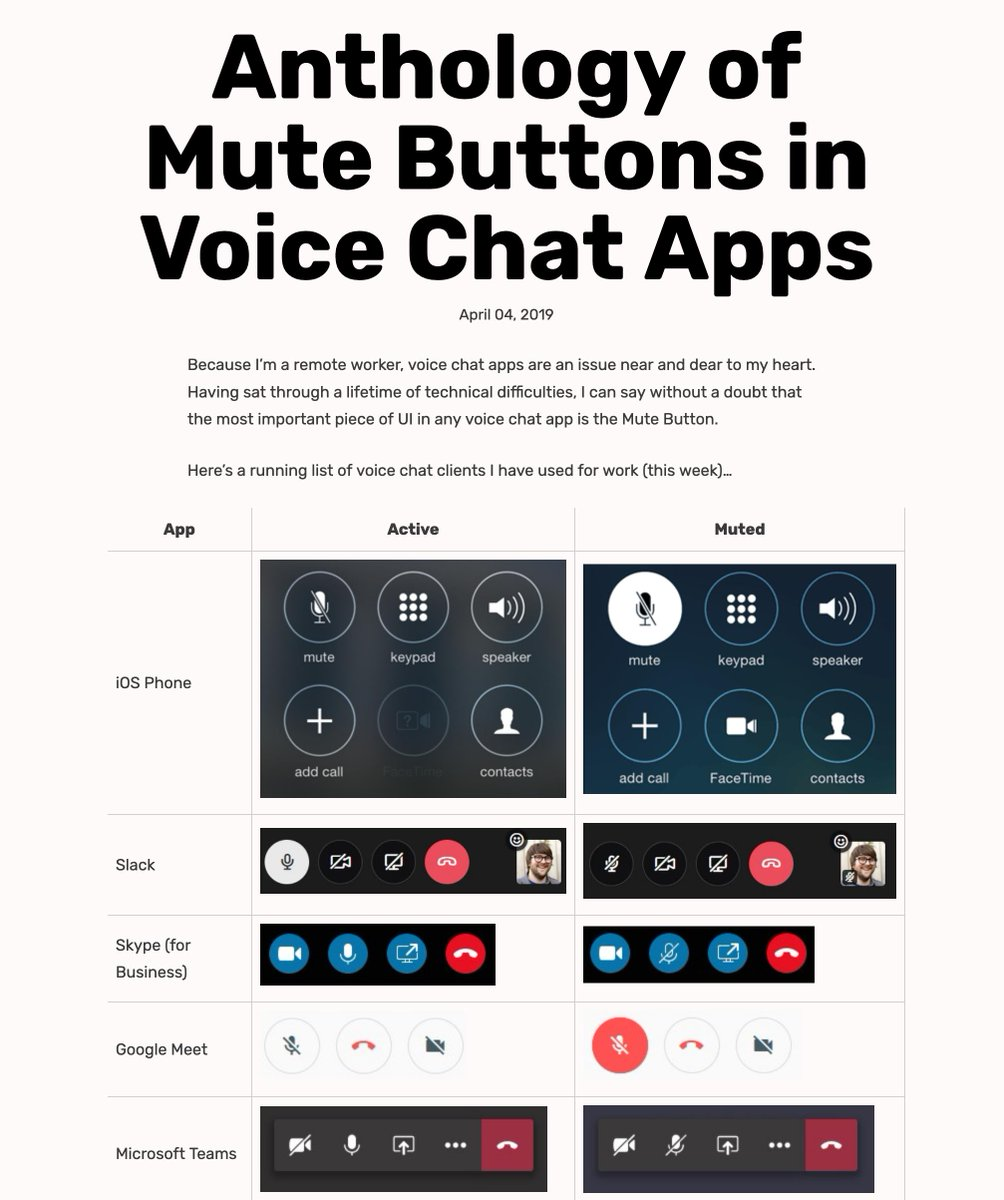 Thank you @davatron5000—glad someone did this! daverupert.com/2019/04/anthol… Voice/video chat buttoning stress is a real thing