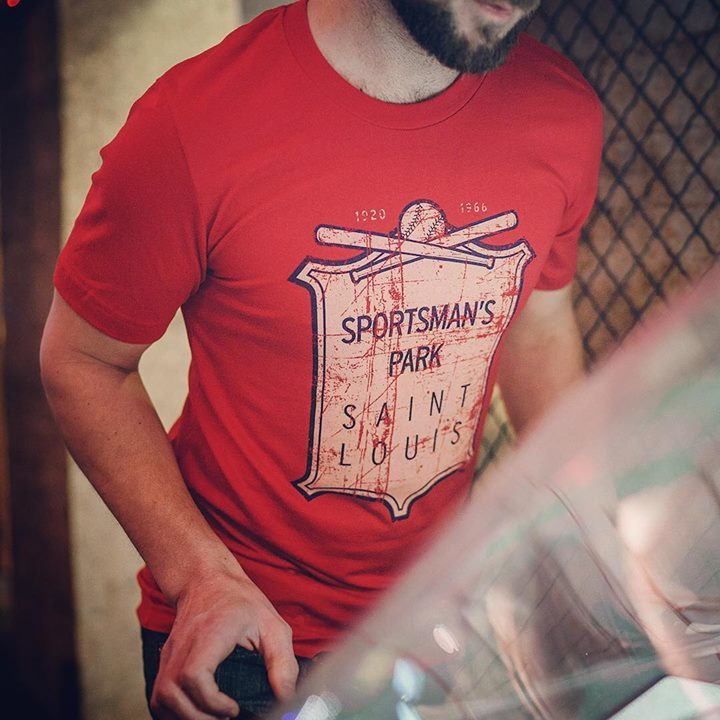 Go Cards! Sportsman's Park was the home field of both the St. Louis Browns and Cardinals, which they shared for an astonishing 33 seasons.  Available at http://bygonebrand.com/sportsmans-park-tee/ …