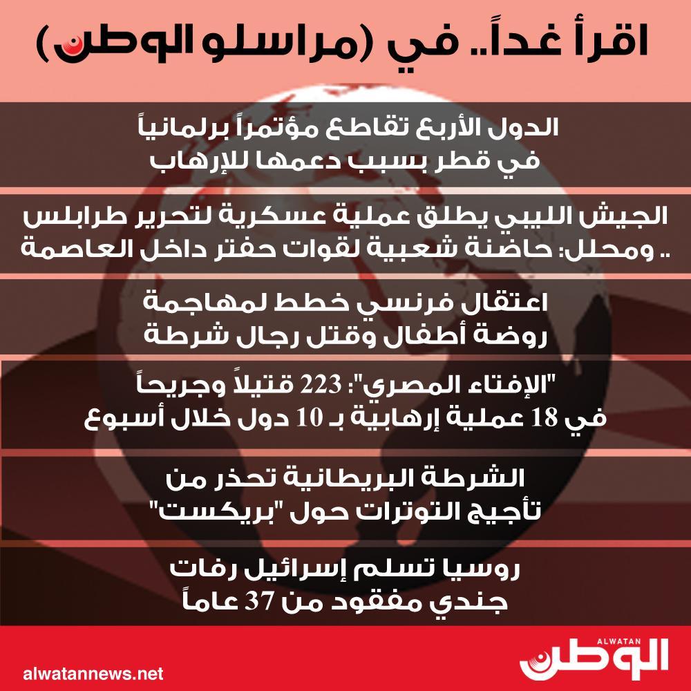 اقرأ غداً.. في (مراسلو الوطن)#الوطن #البحرين #مراسلو_الوطن #الدول_الأربع #قطر #الدوحة #روسيا #إسرائيل #رفات #الشرطة_البريطانية #بريكست #الإفتاء #المصري #الجيش_الليبي #قوات_حفتر #طرابلس #الميليشيات_الإرهابية