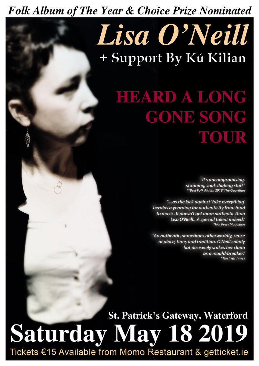 Lisa O'Neill at @StPatrickgate with Kú Kilian Saturday 18 May - ticket's at the http://www.getticket.ie