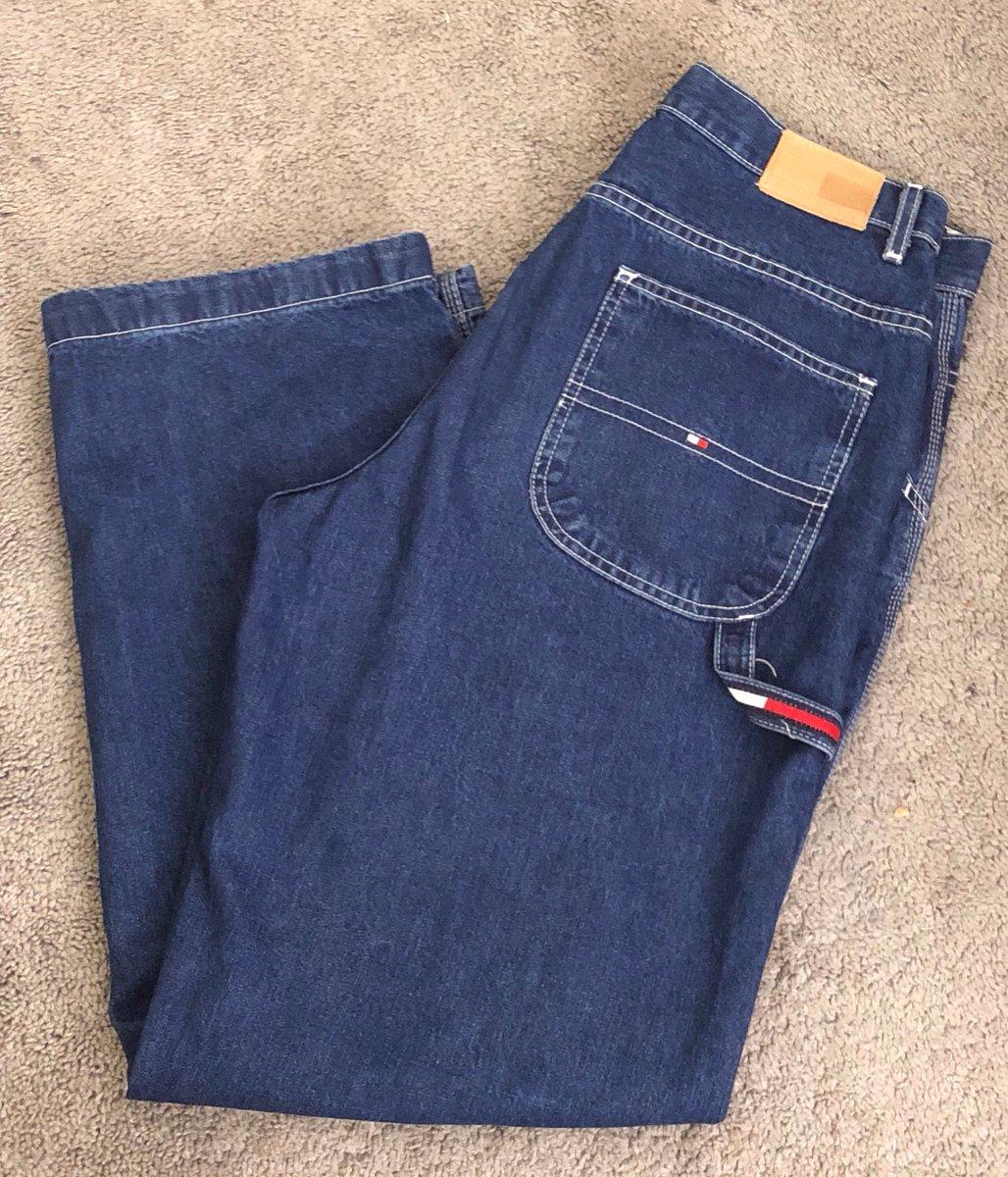 58c356749 ... Vintage 90s Sz12 Womens Tommy Hilfiger Baggy Carpenter Jeans; Logo  Strap, Leather Label ;Hip-Hop Urban Wear Pants https://etsy.me/2uMulrC # vintage ...
