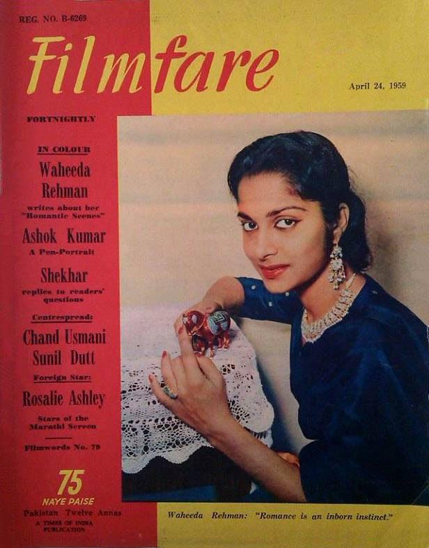 Romance is an inborn talent...Gorgeous Waheeda Rehman on the cover of filmfare magazine April, 1959 issue. #WaheedaRehman #filmfare #BollywoodFlashBack #BolywoodActress #Legend #BombayBasantipic.twitter.com/7DSCVMqkLW
