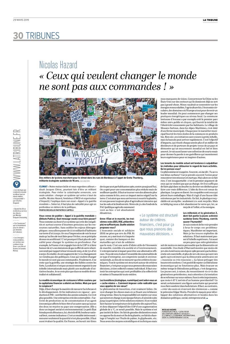 Mon interview dans @LaTribune >> « Ceux qui veulent changer le monde ne sont pas aux commandes » #impact #guerilla