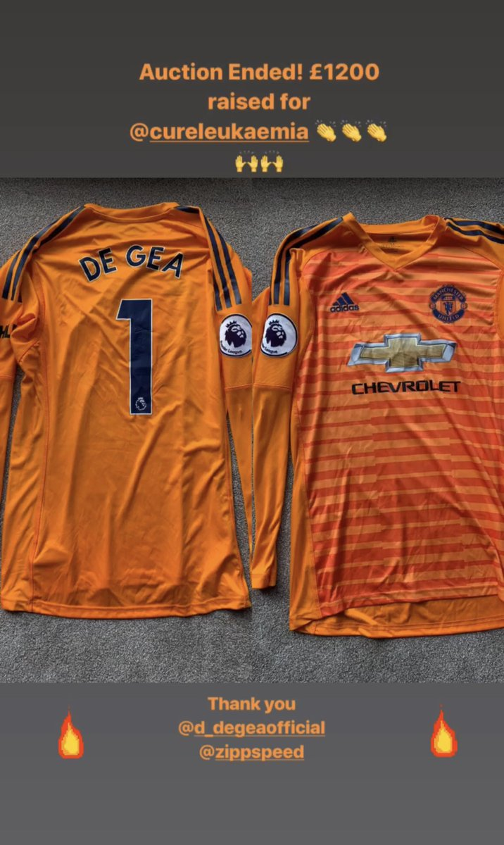 Thanks for all the offers! The highest bidder for the @D_DeGea shirt was for £1200👌 All for @CureLeukaemia 👏