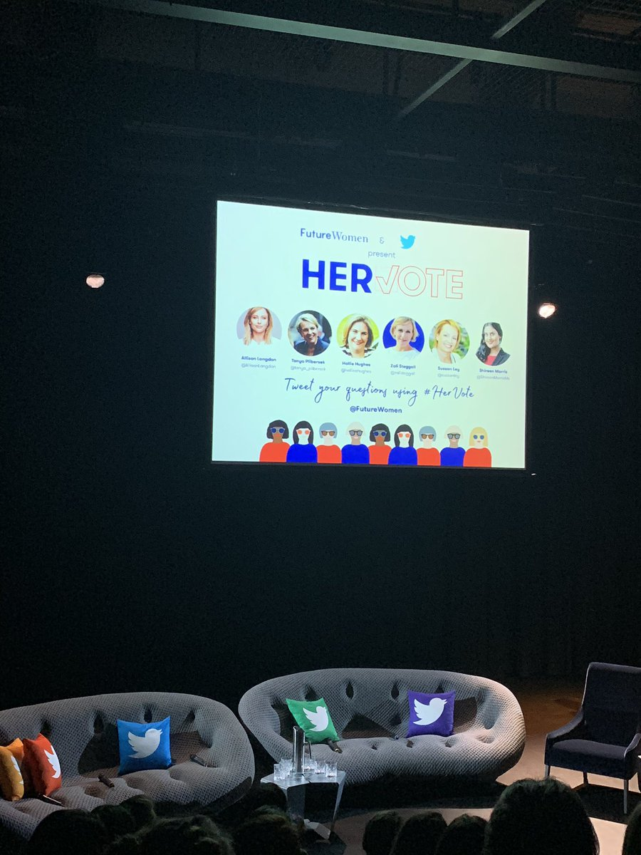 """The @FutureWomen & @Twitter #HerVote event opened by @AllisonLangdon: """"Over the past decade our country has fallen from 15th to 51st on gender representation in national parliament. It's not necessarily that we're going backwards, but the rest of the world is moving forward."""""""