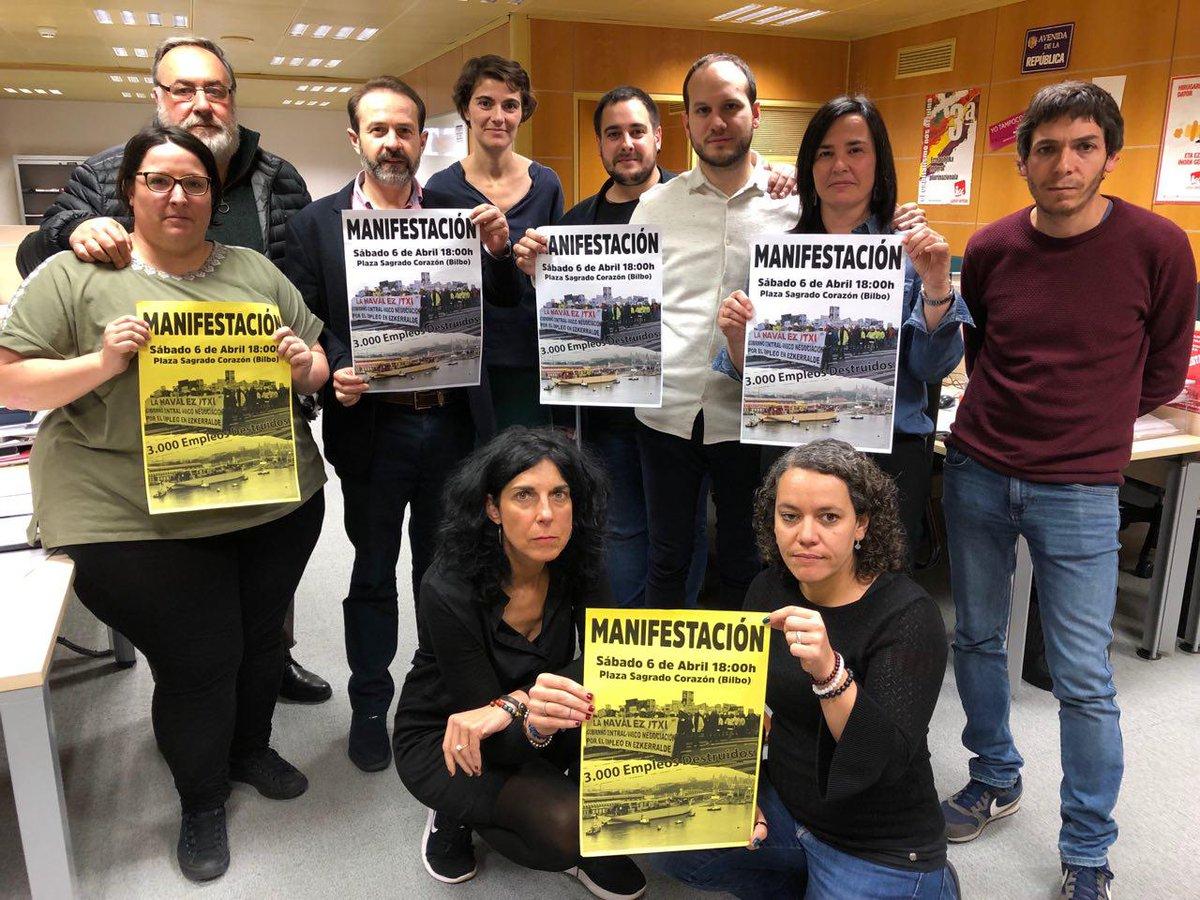 Desde @EzkerAnitzaIU  y #elkarrekin participaremos en la manifestación convocada por los trabajadores de La Naval @LaNavalEzItxi